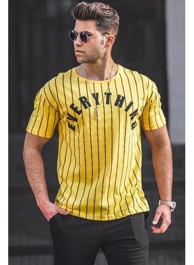 Madmext  Çizgili Baskılı  Tişört 3007 Sarı